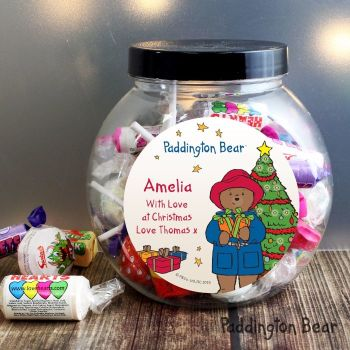 Paddington Bear Christmas Personalised Sweet Jar