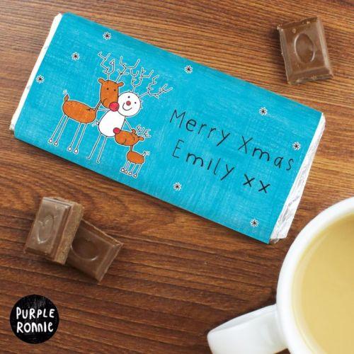 Purple Ronnie Reindeers Christmas Personalised Chocolate Bar
