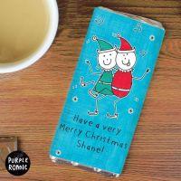 Purple Ronnie Elves Christmas Personalised Chocolate Bar
