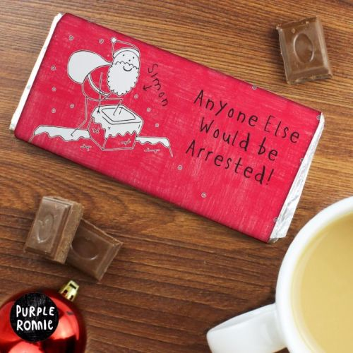 Purple Ronnie Male Christmas Personalised Chocolate Bar