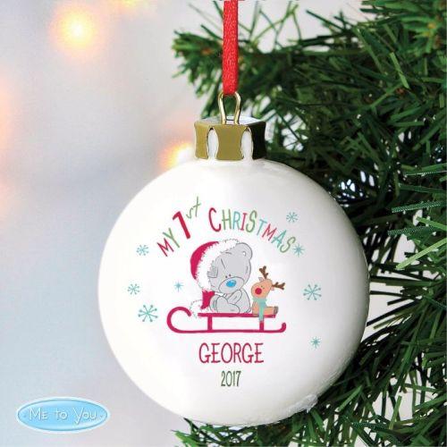 Tatty Teddy Sleigh 'My 1st Christmas' Ceramic Bauble