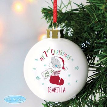 Tatty Teddy Stocking 'My 1st Christmas' Ceramic Bauble