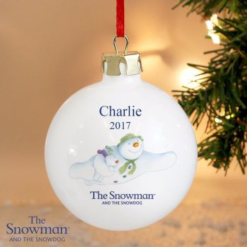 The Snowman and The Snowdog Flying Year Ceramic Bauble Decoration