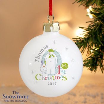 The Snowman and The Snowdog My 1st Christmas Ceramic Bauble Decoration