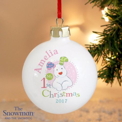 The Snowdog My 1st Christmas Pink Ceramic Bauble Decoration