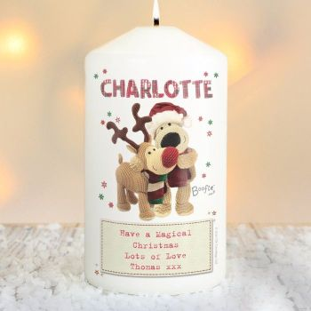 Boofle Reindeer Personalised Pillar Candle