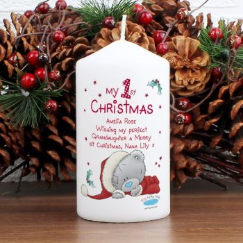 Me To You My 1st Christmas Personalised Pillar Candle