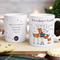 Purple Ronnie Reindeers Female Christmas Mug