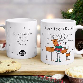 Purple Ronnie Reindeers Female Christmas Mug