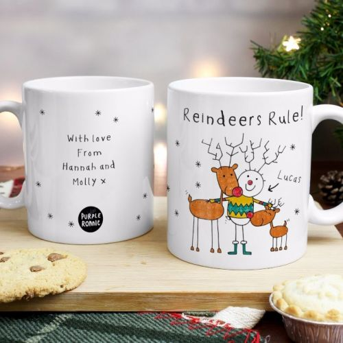 Purple Ronnie Reindeers Male Christmas Mug