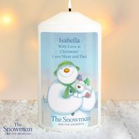 The Snowman & The Snowdog Personalised Pillar Candle