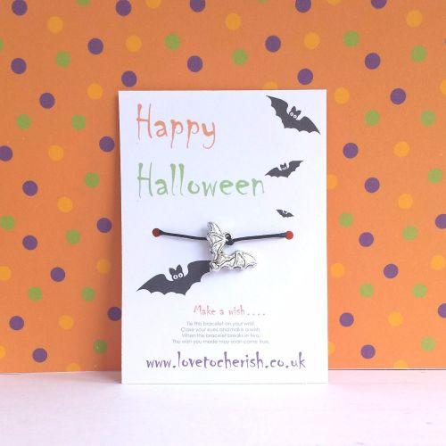 Happy Halloween Bat Charm Wish Bracelet