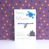 Happy Halloween Skull Charm Wish Bracelet