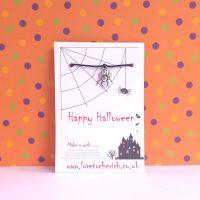 Happy Halloween Spider Charm Wish Bracelet