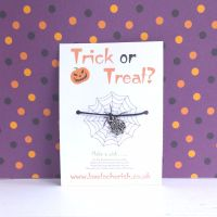Trick or Treat Spiders Web Charm Halloween Wish Bracelet