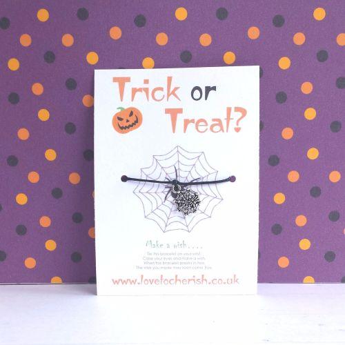 Trick or Treat Spiders Web Charm Halloween Wish Bracelet