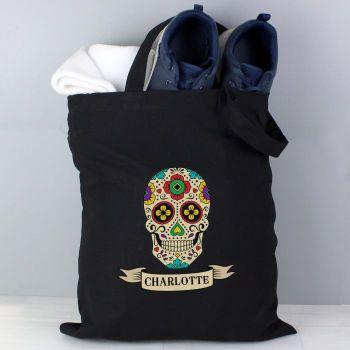 Halloween Sugar Skull Personalised Black Cotton Bag