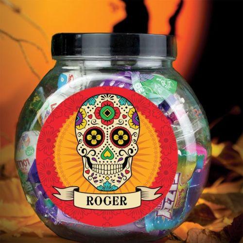 Halloween Sugar Skull Personalised Sweet Jar