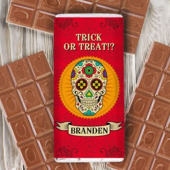 Halloween Sugar Skull Personalised Chocolate Bar