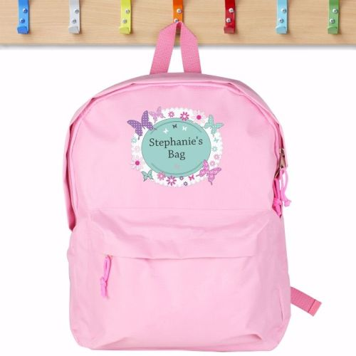 Butterfly Personalised Pink Backpack