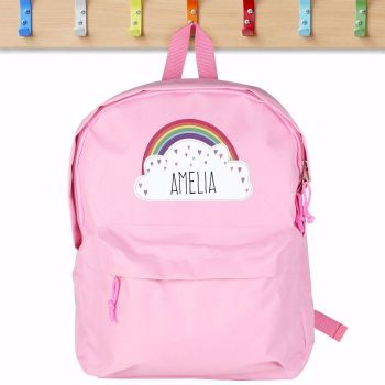 Rainbow Personalised Pink Backpack