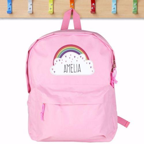 Rainbow Personalised Pink Backpack
