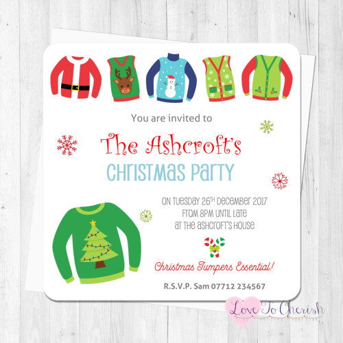 Christmas Jumper Personalised Invites