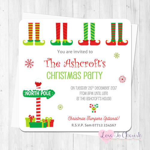 Christmas Elf Feet Personalised Invites