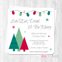 Let's Eat Drink & Be Merry Personalised Christmas Party Invitations