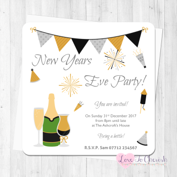 New Year's Eve Black & Gold Personalised Party Invites