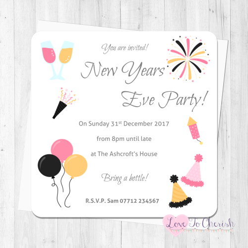New Year's Eve Pink & Gold Personalised Invites