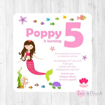 Girls Party Invites and Thank You Cards