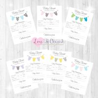 Onsie/Vest Clothes Lines Baby Shower Prediction & Advice Game Cards