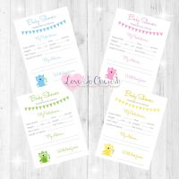 Cute Owl Baby Shower Prediction & Advice Game Cards