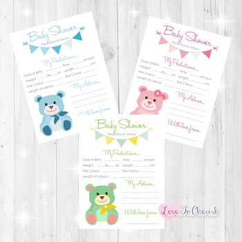 Cute Teddy Bear Baby Shower Prediction & Advice Game Cards