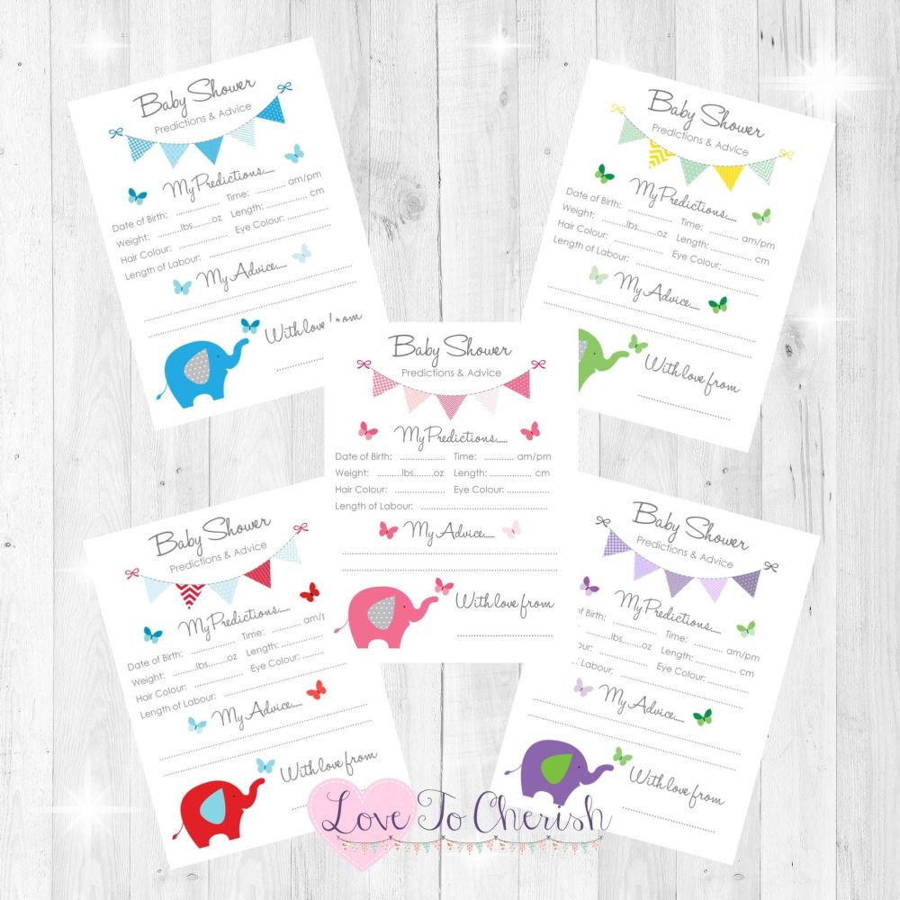 Elephant & Butterflies Baby Shower Prediction & Advice Game Cards