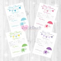 Elephant with Umbrella Baby Shower Prediction & Advice Game Cards