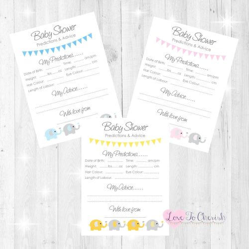 Elephants & Hearts Baby Shower Prediction & Advice Game Cards