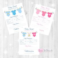 Pink & Blue Vest Line Baby Shower Prediction & Advice Game Cards