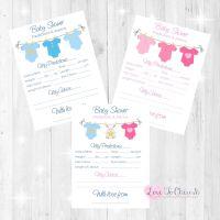 Pink & Blue Vest Line Baby Shower Prediction & Advice Game Cards