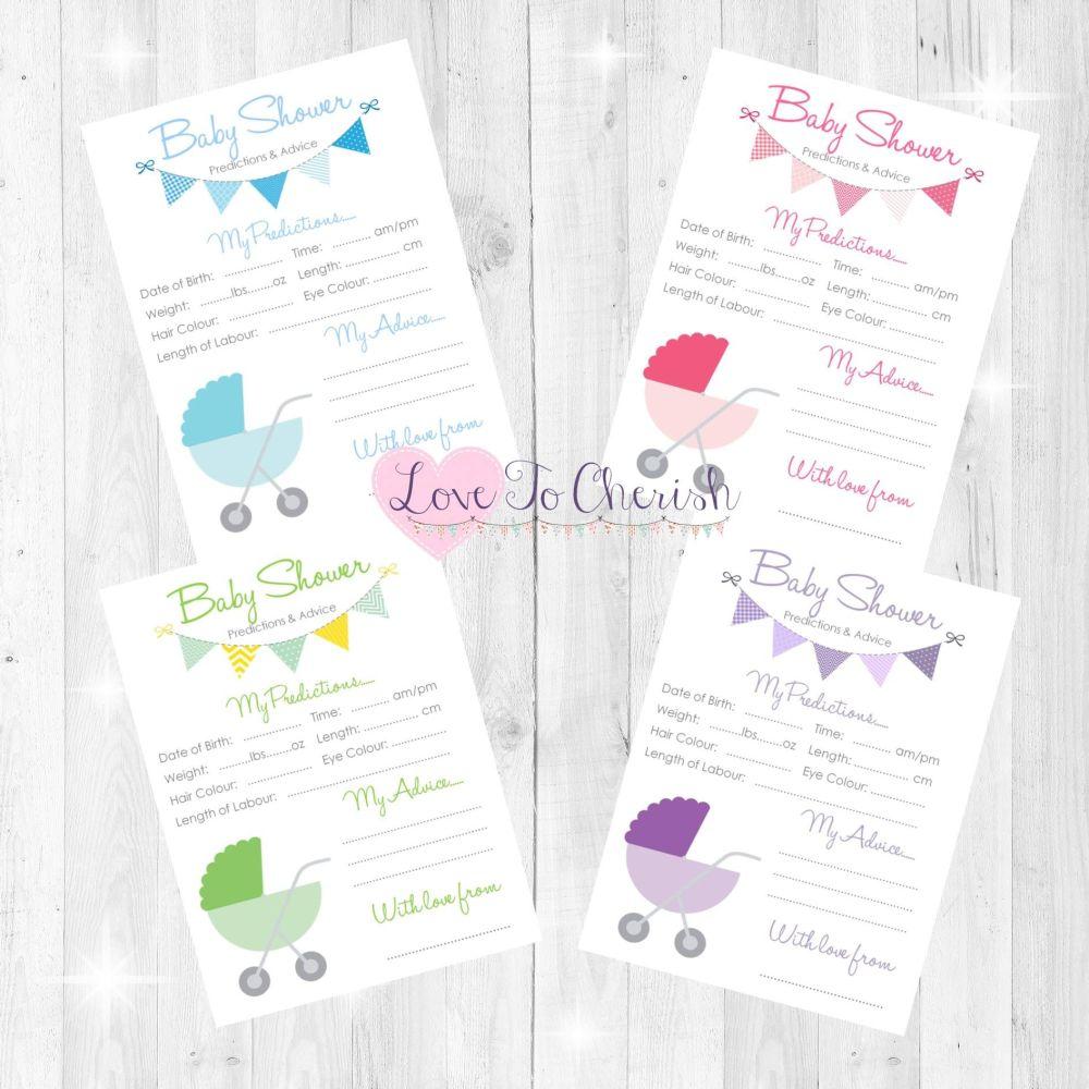 Pram/Stroller Design Baby Shower Prediction & Advice Game Cards