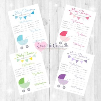 Pram/Stroller Design Baby Shower Prediction & Advice Game Cards