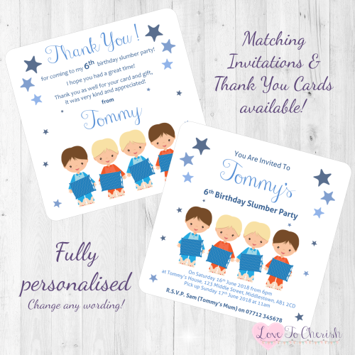 Boys Slumber Party Invitations Thank You Cards