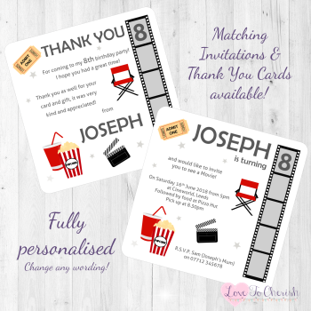 Movie Birthday Party Party Invitations & Thank You Cards