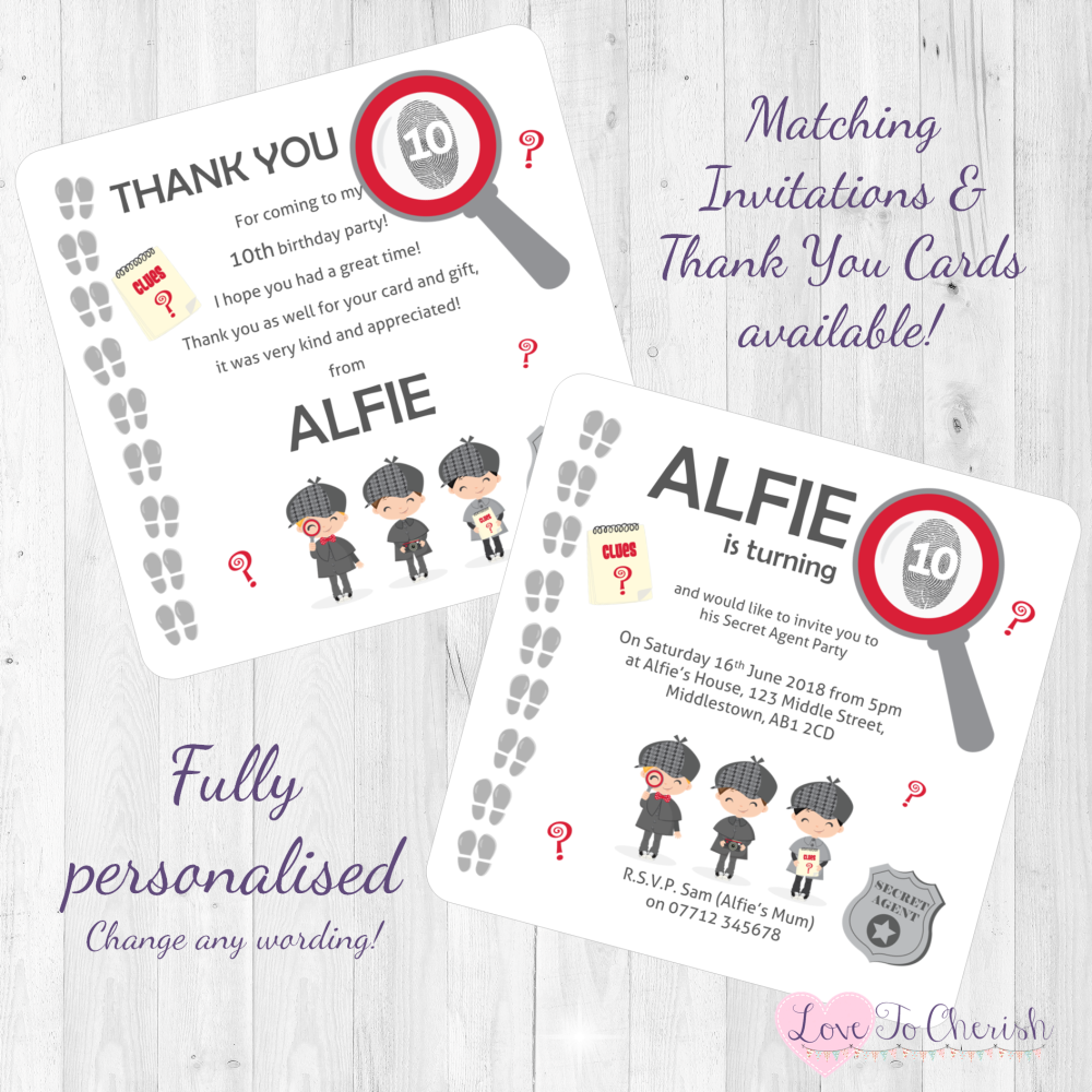 Secret Agent / Spy Birthday Party Invitations & Thank You Cards