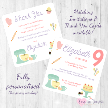 Baking Party Invitations & Thank You Cards