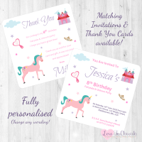 Fairytale & Unicorn Party Invitations & Thank You Cards
