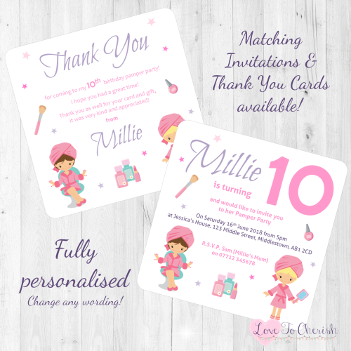 Girls Pamper Party Invitations Thank You Cards