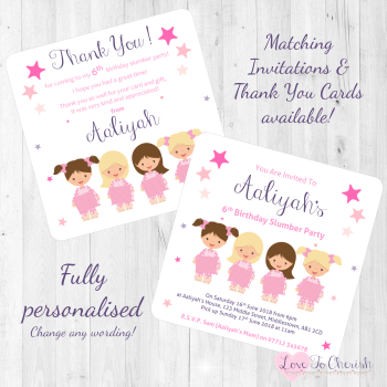 Girl's Slumber Party Invitations & Thank You Cards
