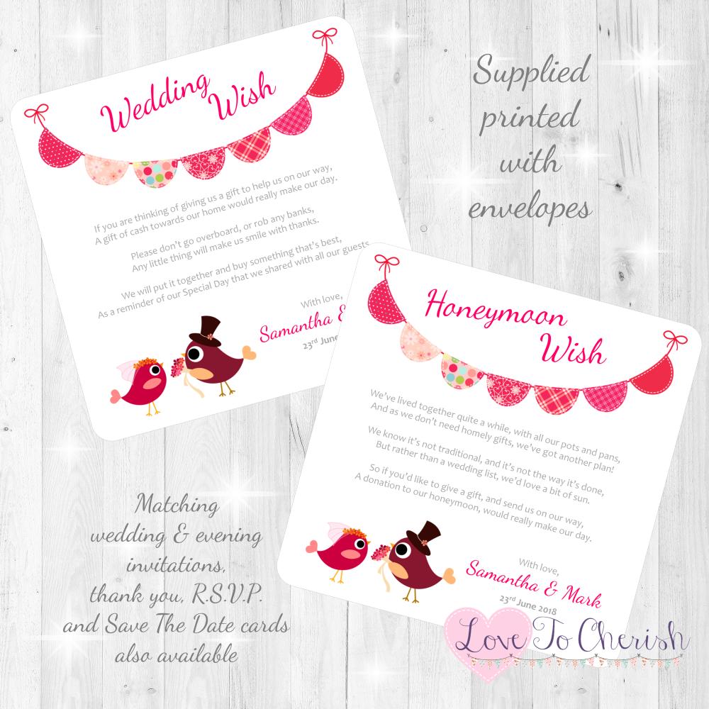 Bride & Groom Cute Love Birds & Bunting Dark Pink Honeymoon Wish Cards